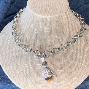 Judith Ripka necklace 24 inches with citrine